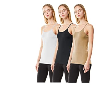 d4953ee656b92d MoDDeals Women s Plus Size Seamless Camisole Tank Top Spaghetti Strap  Layering Value Pack (1X