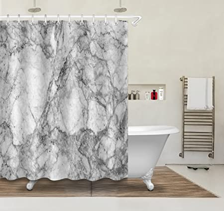 Marble Shower Curtain For Bathroom 150W X180H60W X72H InchWaterproof