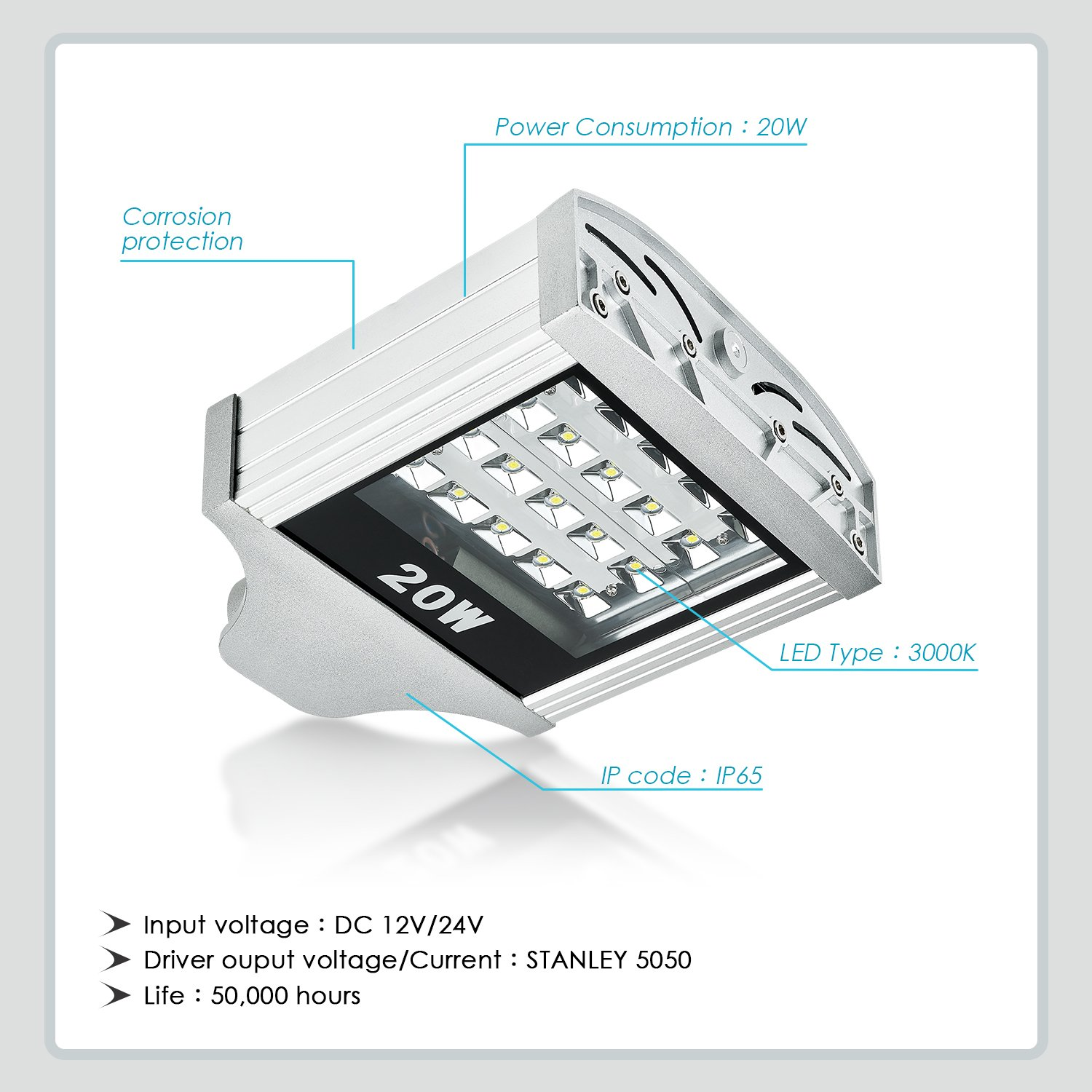 20W Street Area Light Japan Stanley patent SMD 5050 LED Daylight 3000K Bright White Light with Free smartphone Bluetooth remote or cloud remote Easy Mounts Add Automaxx 1400lm LED Parking Lot Lights