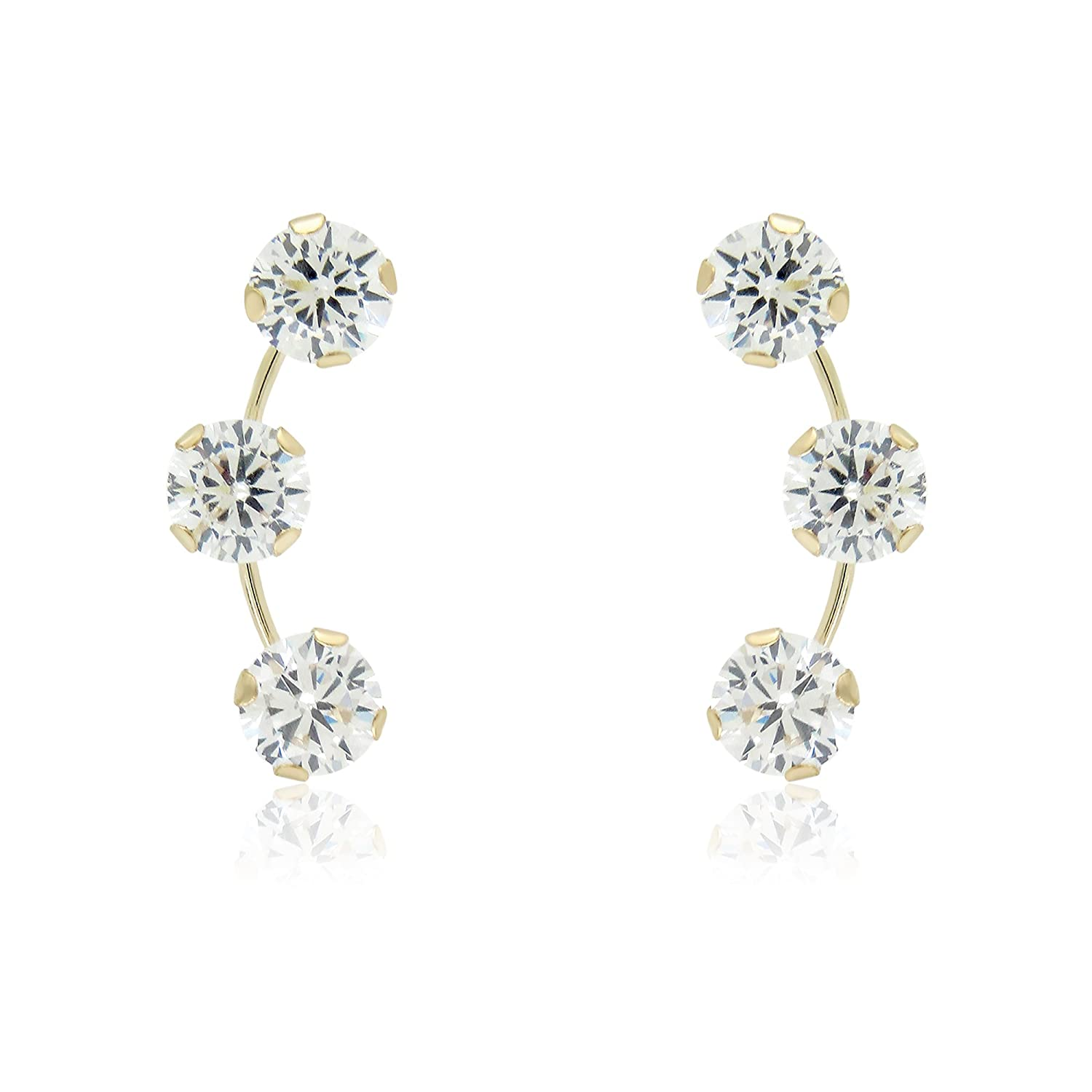 EARRINGS CZ SPRAY POST IN 10KT YELLOW GOLD 0.34 GRAMS G3 CORP 12003207
