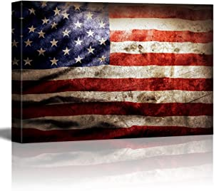 "Closeup of Grunge American Flag Vintage Retro Style Patriotic Concept - Canvas Art Wall Decor - 16"" x 24"""