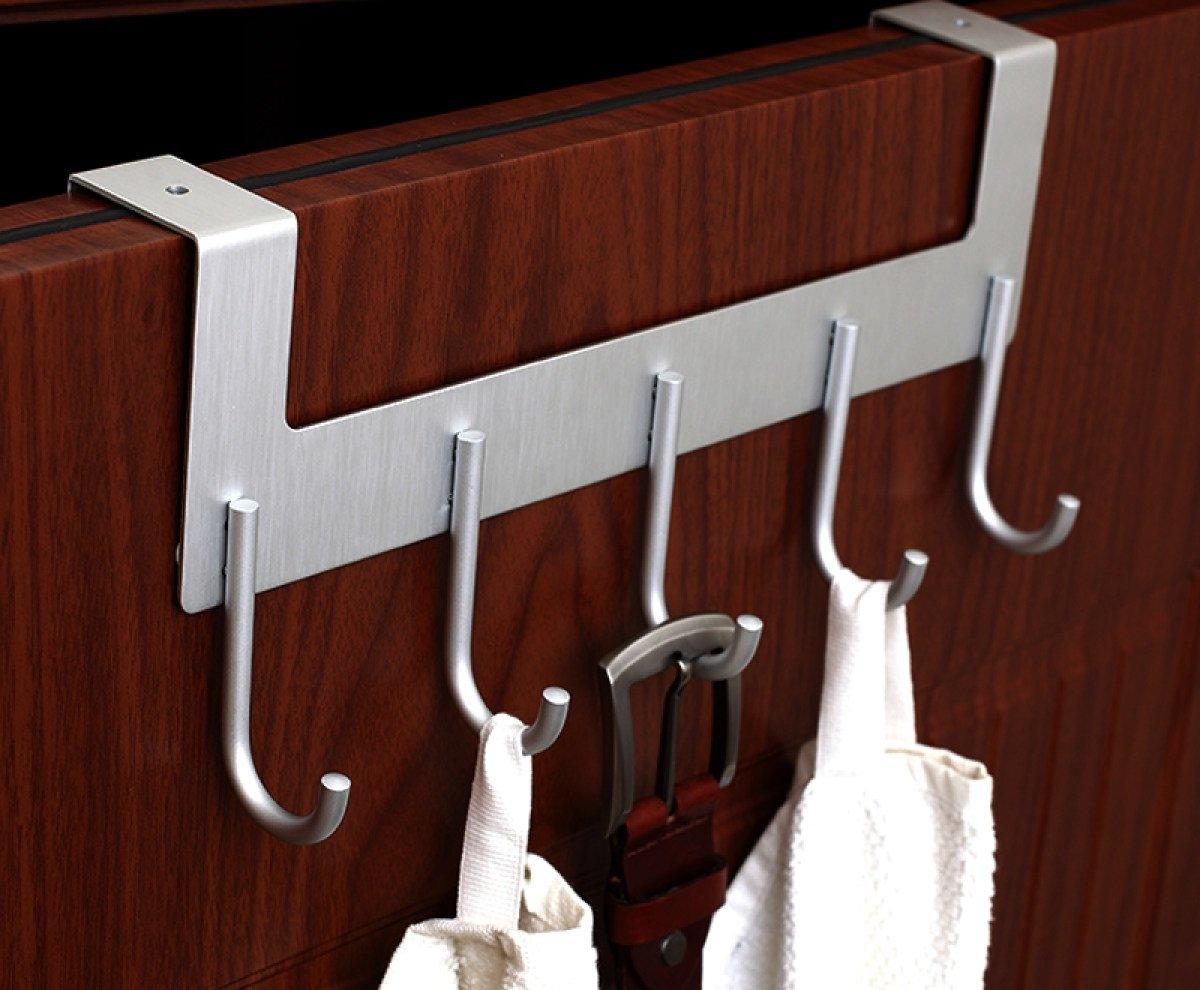 DD Coat hook door hook space aluminum traceless creative nail-free racks row hook (Color : Silver B)