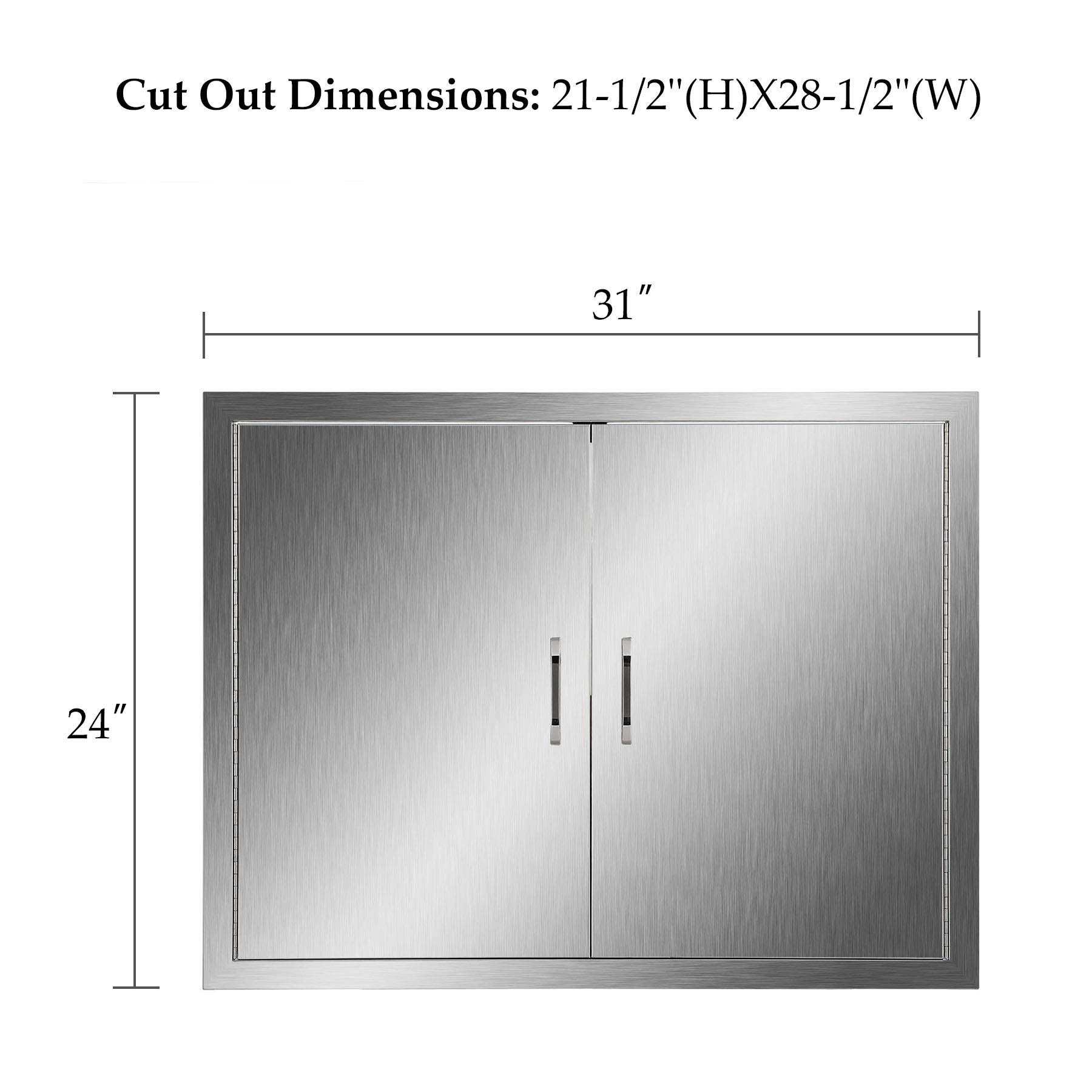 CO-Z Outdoor Kitchen Doors, 304 Brushed Stainless Steel Double BBQ Access Doors for Outdoor Kitchen, Commercial BBQ Island, Grilling Station, Outside Cabinet, Barbeque Grill, Built-in (31'' W x 24'' H) by CO-Z (Image #7)