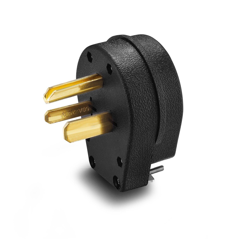 Aweking Nema 6 50 Power Plug Connector 50a 50 Amp Ac 250v 250volt 2 Pole 3 Wire Grouding Straight Blade Black