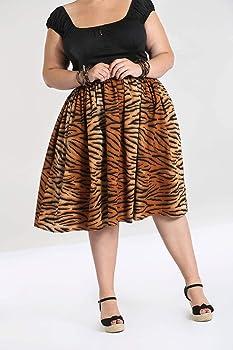 Hell Bunny Mujer Tora 50s Tigre Falda - Marron, 8: Amazon.es: Ropa ...