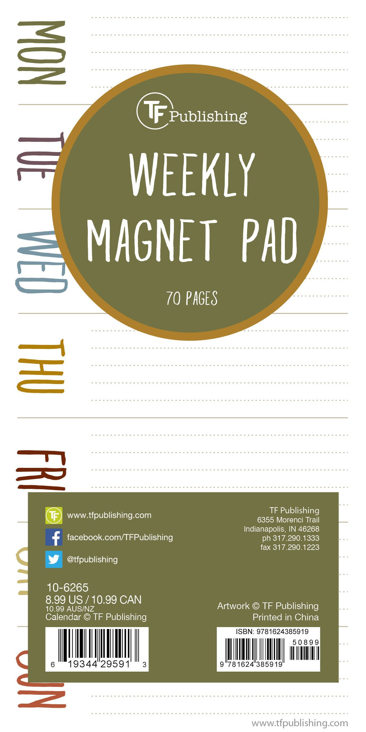 Earth Days Weekly Magnet Pad: 70 Pages