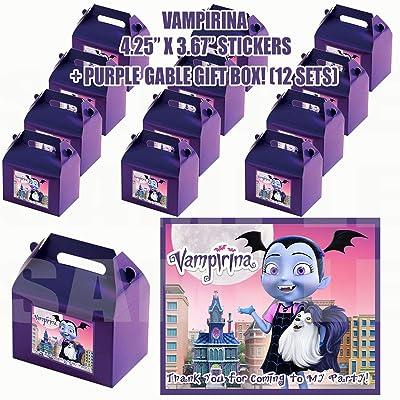 Vampirina Group Party Favor Boxes with Thank You Decals Stickers Loots Purple Birthday 12 Pieces Great Seller …Vampirina Hauntley Gregoria Oxana Boris Creepy Caroline Poppy Peepleson Nanpire Grandpop: Toys & Games