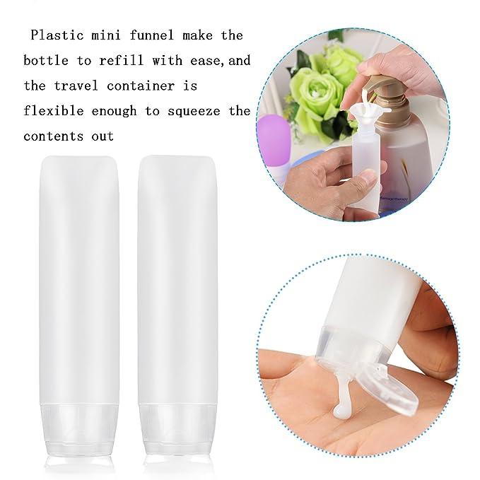 10 pcs de transparente envase de loción exprimible MEZOOM de botellas PE plastico de contenedor viaje con dos embudos y una etiqueta en equipaje o bolso: ...