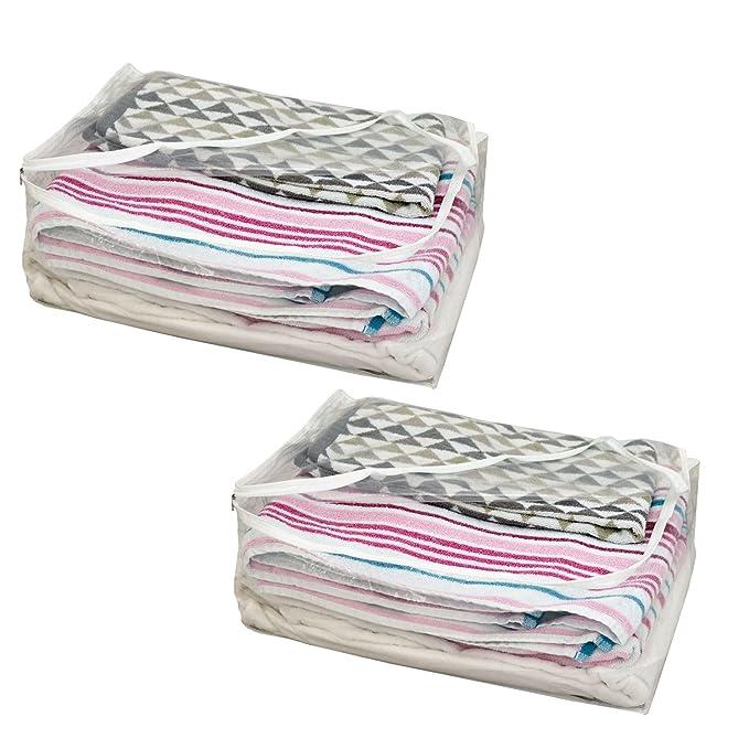 H & L Russel Housse de rangement pour couverture avec fermeture éclair et liseré blanc, transparent, lot de 2