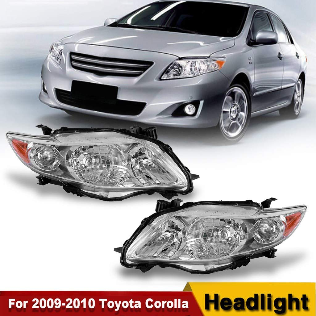 Arrowsy Headlights Headlamp Chrome Housing Replacement Pair for 2009-2010 Toyota Corolla- US Stock by Arrowsy