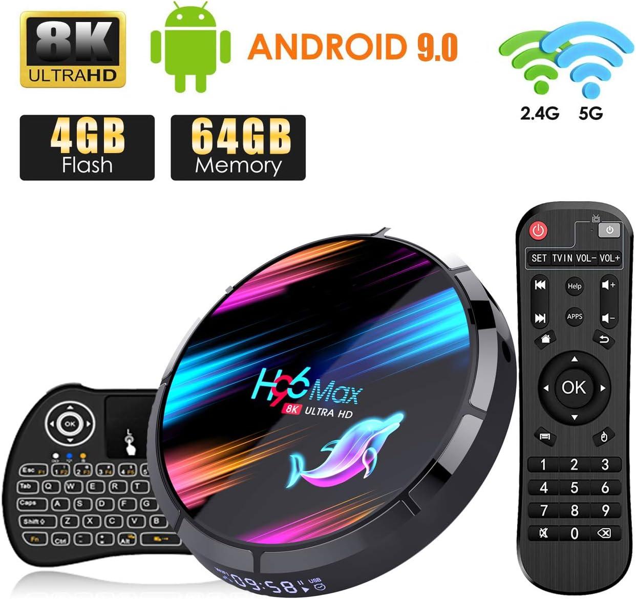 Android TV Box, H96 MAX Android 9.0 TV Box 【4GB+64GB】 con Mini Teclado Amlogic S905X3 64-bit Quad Core con Dual-WiFi 2.4GHz/5GHz, 8K*4K UHD H.265, USB 3.0, BT 4.0 Smart TV Box: Amazon.es: