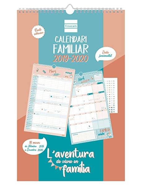 Calendario de pared familiar 16 meses 2019-2020 catalán Aventura ...