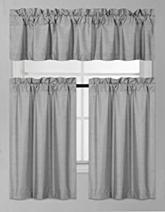 Elegant Home Collection 3 Piece Solid Color Faux Silk Blackout Kitchen Window Curtain Set with Tiers and Valance Solid Color Lined Thermal Blackout Drape Window Treatment K3 (Silver/Light Grey)