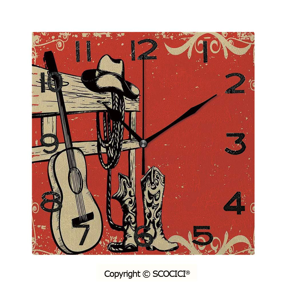 SCOCICI Square Wall Clock Image of Wild West Elements with Country Music Guitar and Cowboy Boots Retro Art Decorative 8 inch Morden Wall Clocks Silent Square Decorative Clock by SCOCICI