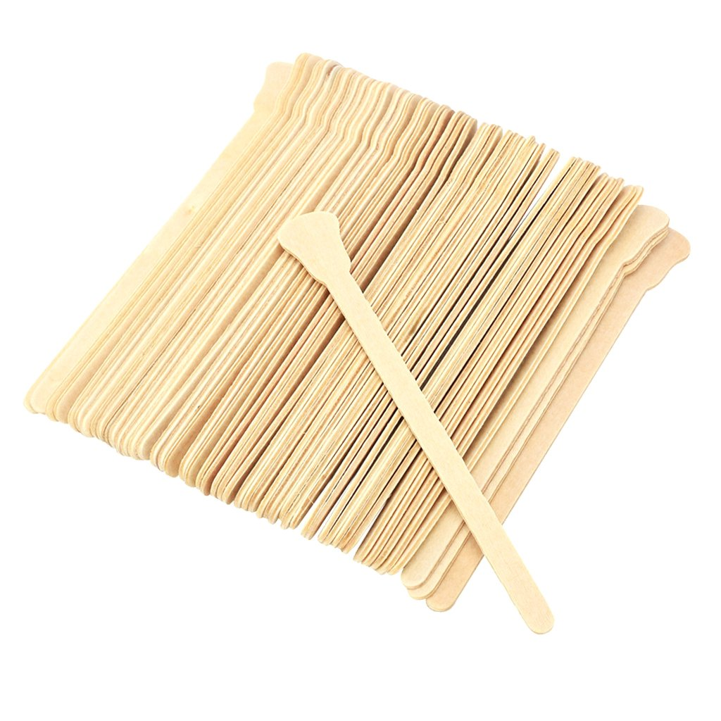 Baoblaze 50 Pieces Wooden Waxing Applicators Sticks for Face & Eyebrows Wax Spatula Hair Removal