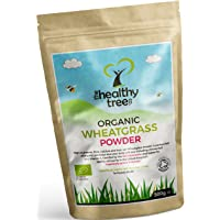 Organic Wheatgrass Powder from Germany - High in Protein, Fibre, Calcium and Chlorophyll - Perfect for Green Superfood Juices - Pure Wheatgrass Powder by TheHealthyTree Company