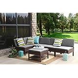 Baner Garden (K55-BR) 6 Pieces Outdoor Furniture Complete Patio Cushion Wicker Rattan Garden Corner Sofa Couch Set, Full, Brown