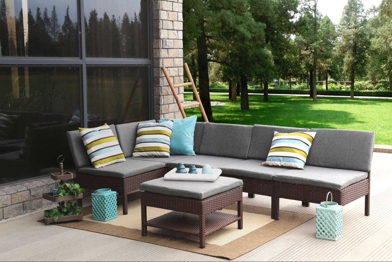 Amazon.com: Baner Garden (K55 BR) 6 Pieces Outdoor Furniture Complete Patio  Cushion Wicker Rattan Garden Corner Sofa Couch Set, Full, Brown: Kitchen U0026  ...