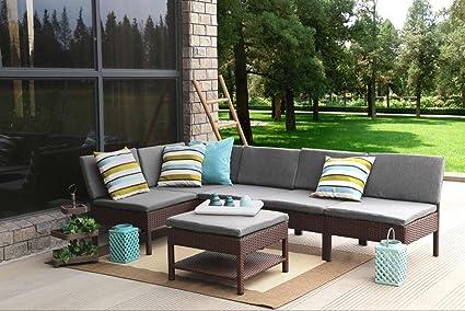 amazon com baner garden k55 br 6 pieces outdoor furniture complete rh amazon com corner patio furniture covers small corner patio furniture