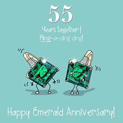 Anniversario Matrimonio 55 Anni.55th Wedding Anniversary Greetings Card Emerald Anniversary