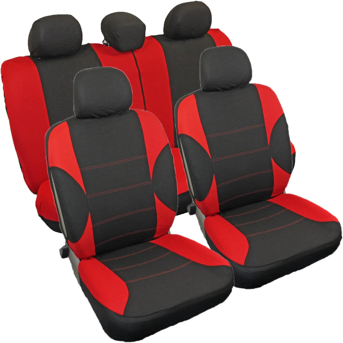 Streetwize SWSC55 Red Polyester Seat Cover Set with Zips 11 Pieces