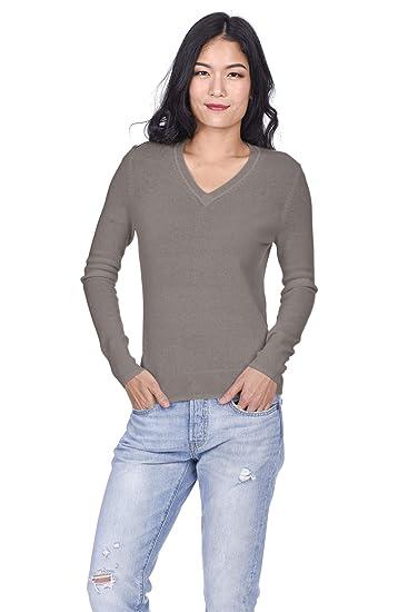 buy popular a45f0 cf32f State Cashmere Donna 100% Puro Cashmere Pullover A Manica Lunga con Collo a  V