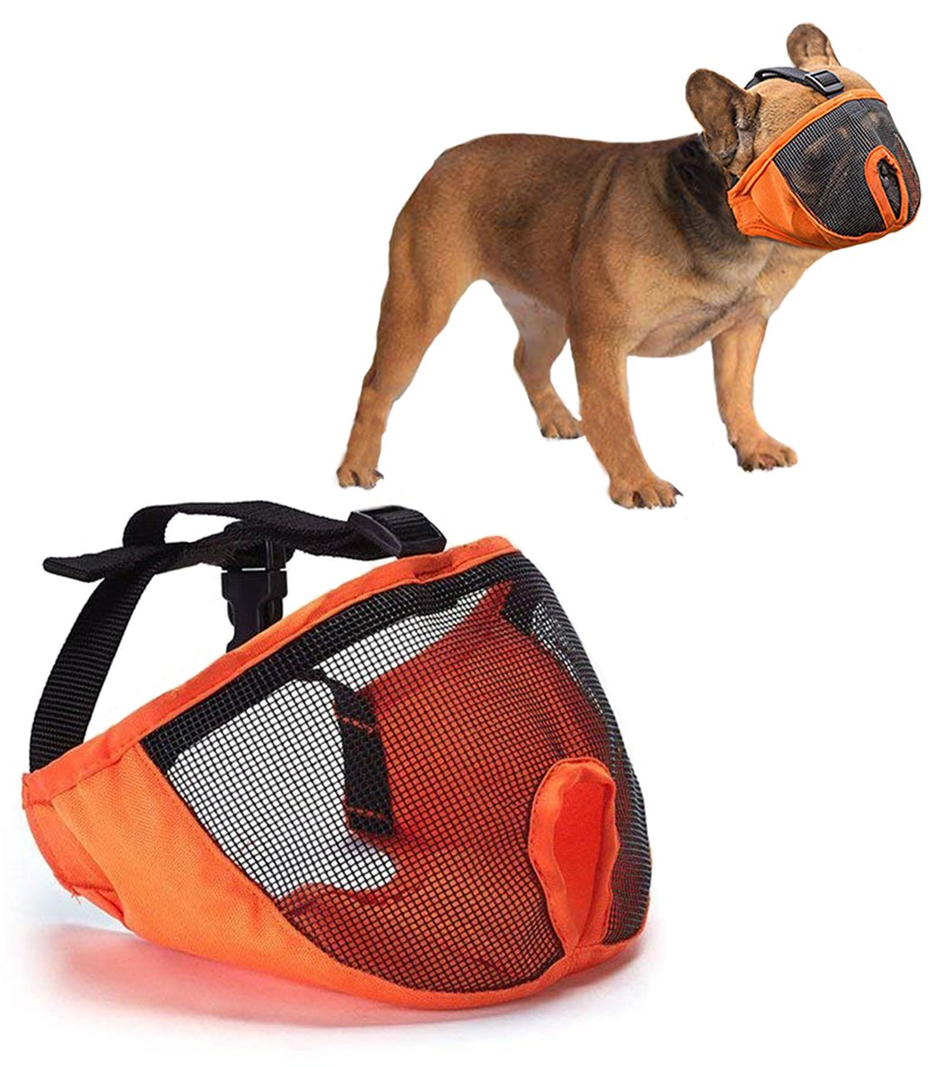 orange S orange S Luckshow Dog Muzzle for Short Snout Stops Biting and Chewing Bulldog Muzzle Breathable Mesh Adjustable Size Comfortable and Durable Nylon Cloth