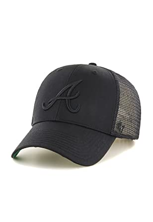 1f48f81466d06b '47 Brand Atlanta Braves Branson MVP Trucker Cap - Black On Black One Size
