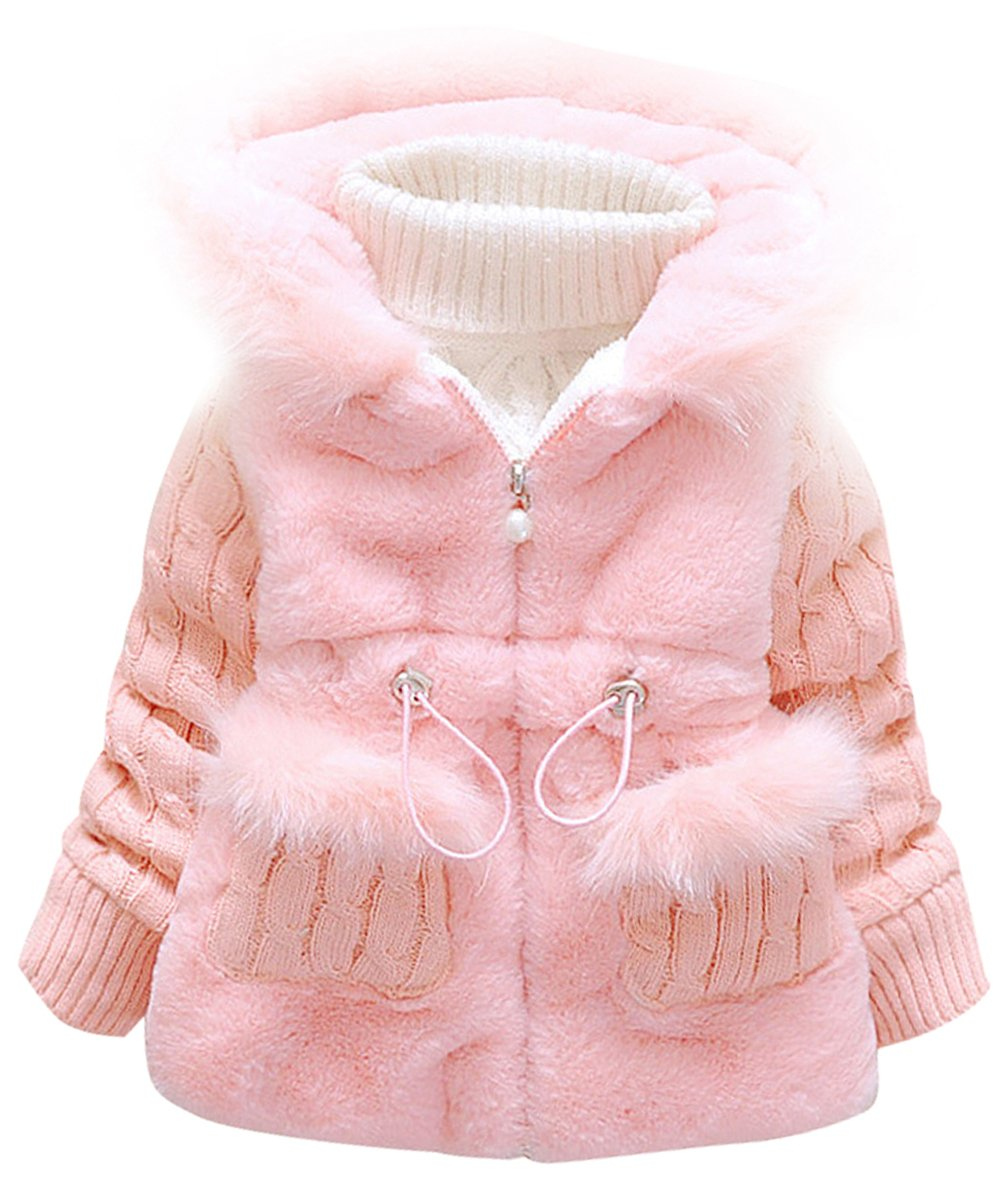 Urtrend Little Girl's Baby Toddler Kids Clothes Winter Outerwear Coat Jacket(12,Pink2) by Urtrend