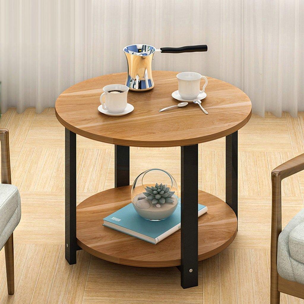 Canapé Table Basse Table Basse Ronde Petite Table Ronde Table Moderne Coin Téléphone 60 * 60 * 43cm ( Couleur : Maple