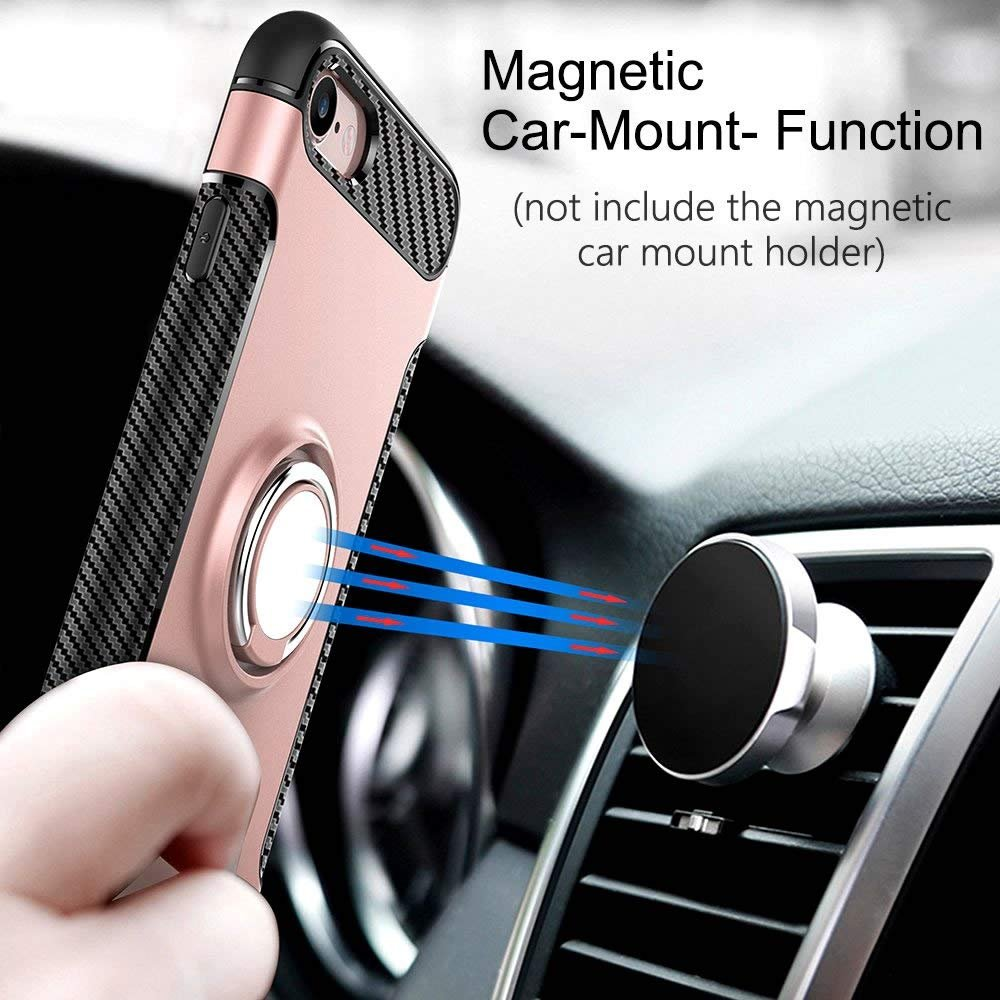 J720 Compatible with Magnetic Car Mount ,Shinyzone PC Design Protective Cover-Rose Gold Ring Holder Kickstand Case for Samsung Galaxy J7 2017 Carbon Fiber Non Slip Dual Layer TPU