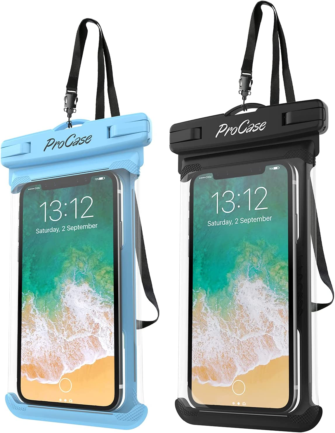 ProCase Universal Waterproof Case Cellphone Dry Bag Pouch for iPhone 12 Pro Max 11 Pro Max Xs Max XR XS X 8 7 6S Plus SE 2020, Galaxy S20 Ultra S10 S9 S8/Note 10 9 up to 7