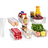 Sagler Fridge Organizers Set of 10-Stackable Refrigerator Bins, Set Includes 6 Food containers and 4 precut Shelf Liners…