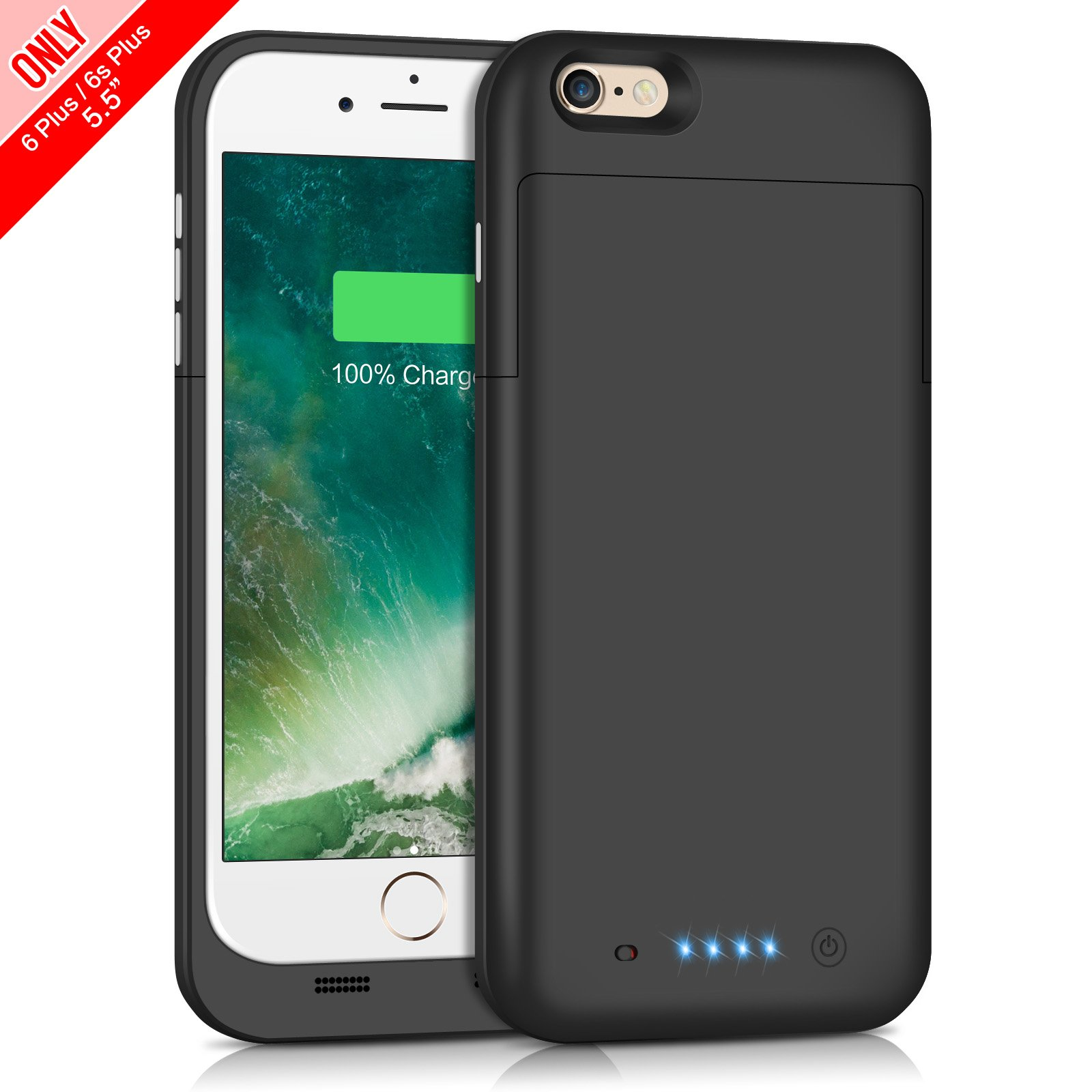 Gixvdcu iPhone 6S Plus / 6 Plus Battery Case [6800mAh], Portable Protective Charging Case iPhone 6Plus, 6S Plus Extended Backup Charger Ultra Slim - Black