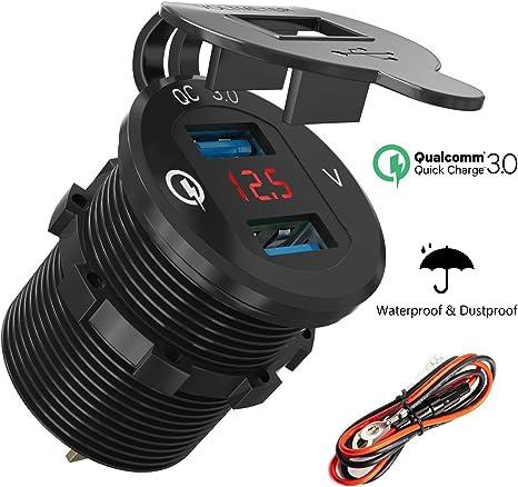 Amazon.com: QC 3.0 - Cargador USB para enchufe de coche: Qidoe