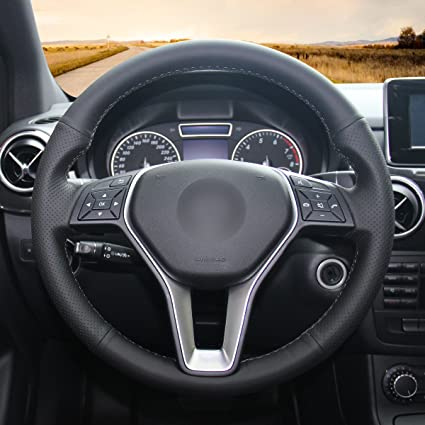 mewant negro piel Artificial funda de volante para Mercedes Benz ...