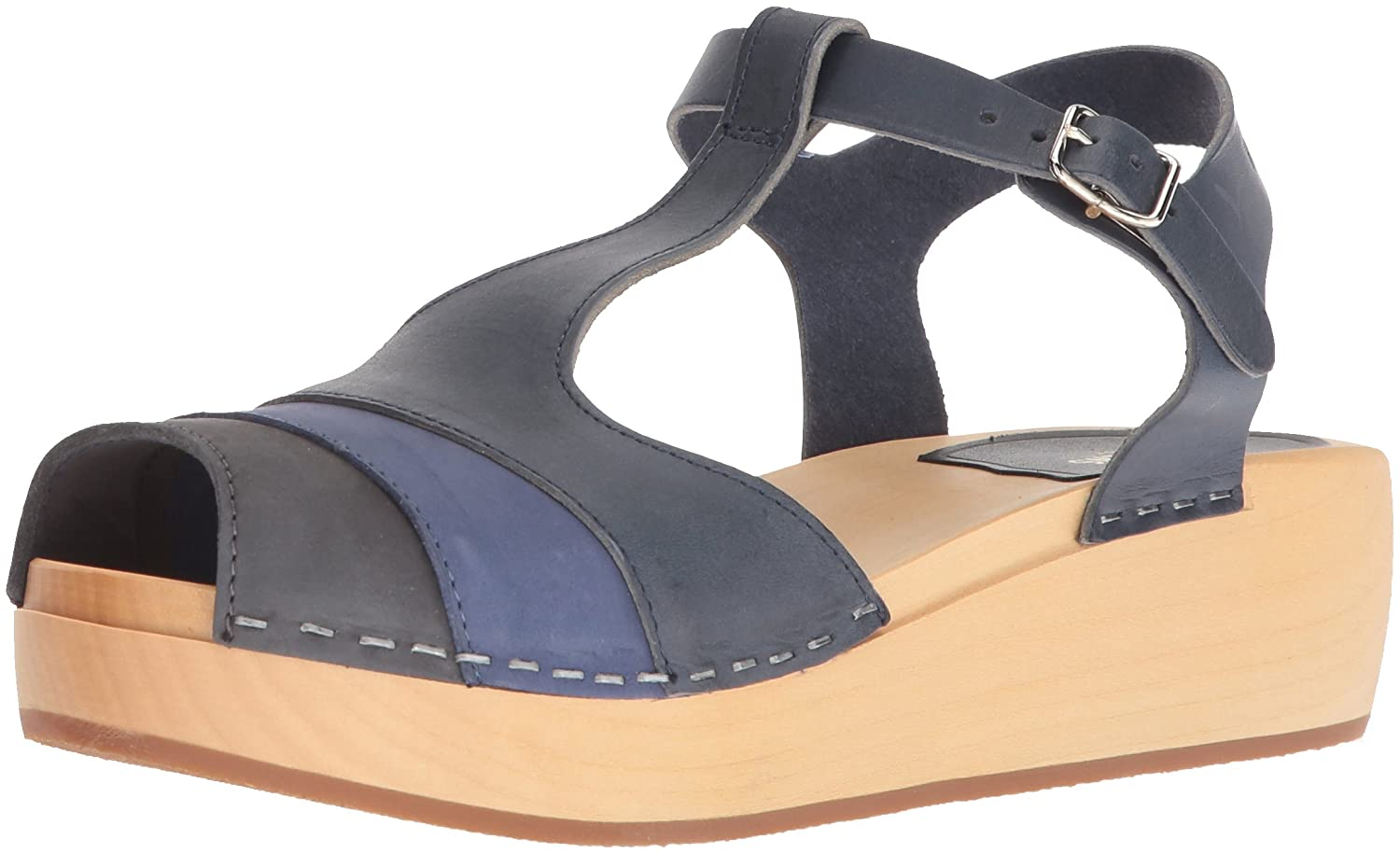 swedish hasbeens Women's 90's T-Strap Wedge Sandal B0785Q74VV 36 Regular EU (36-6 US)|Blue Nubuck Color Combo
