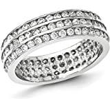 Sterling Silver Rhodium-plated 3-row Eternity Ring - Ring Size Options Range: L to P