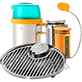 BioLite CampStove 1 Bundle with Original CampStove 1, Portable Grill and KettlePot Attachments and USB FlexLight