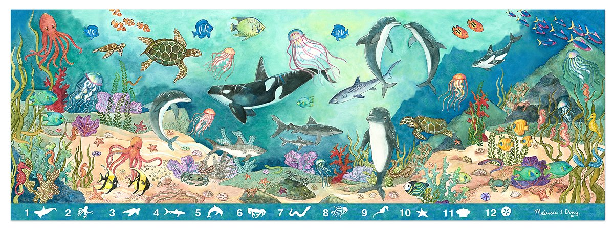Amazoncom Melissa Doug Search And Find Beneath The Waves Floor - Melissa and doug floor puzzle