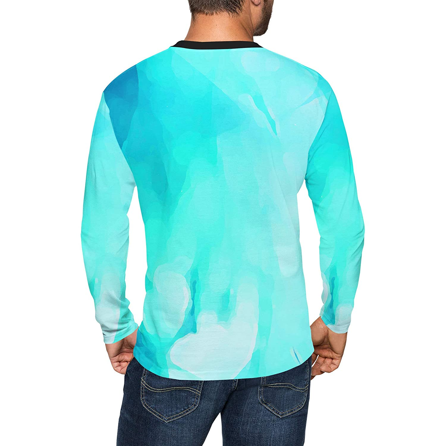 Queen of Cases Colored Abstract Watercolor Mens Longsleeve Tee