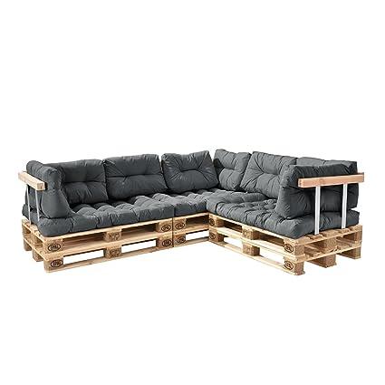 [en.casa]®] Sofá de palés - europalés de 5 plazas con Cojines - (Gris Claro) Set Completo, incluidos apoyabrazos y respaldos