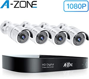 A-ZONE Security Camera System Outdoor, 8CH 5MP-Lite DVR AHD Surveillance System, 4 Outdoor/Indoor 3.6mm Fixed Lens 2.0 Megapixel IP66 Waterproof Cameras, Motion Detection, No Hard Drive