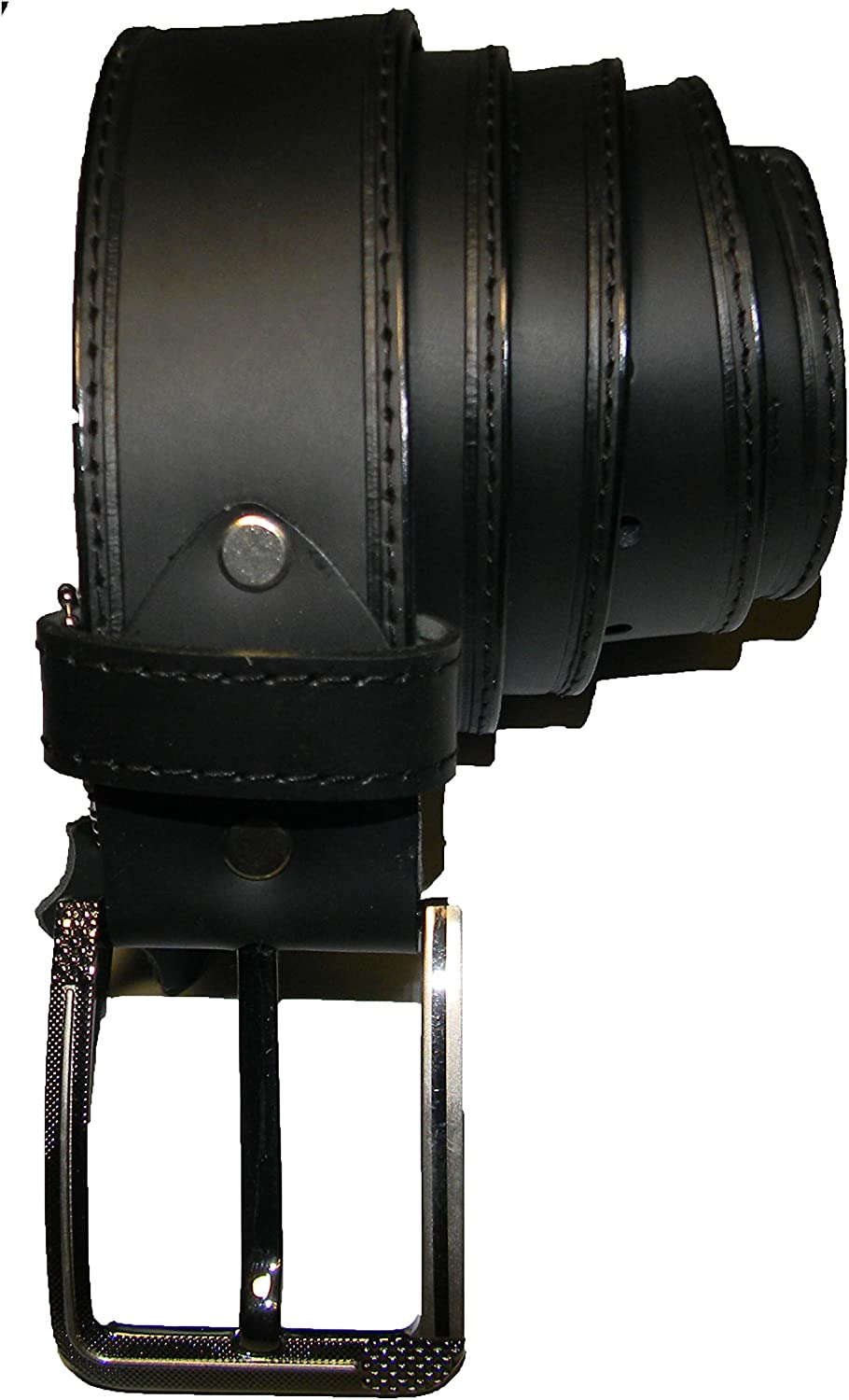 Western Mens Full Grain Black Real Leather Casual Wide Belt with Removable Buckle for Dress and Jeans