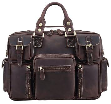 e4319962da Polare Men s Vintage Full Grain Leather Messenger Bag Business Case  Computer Briefcase