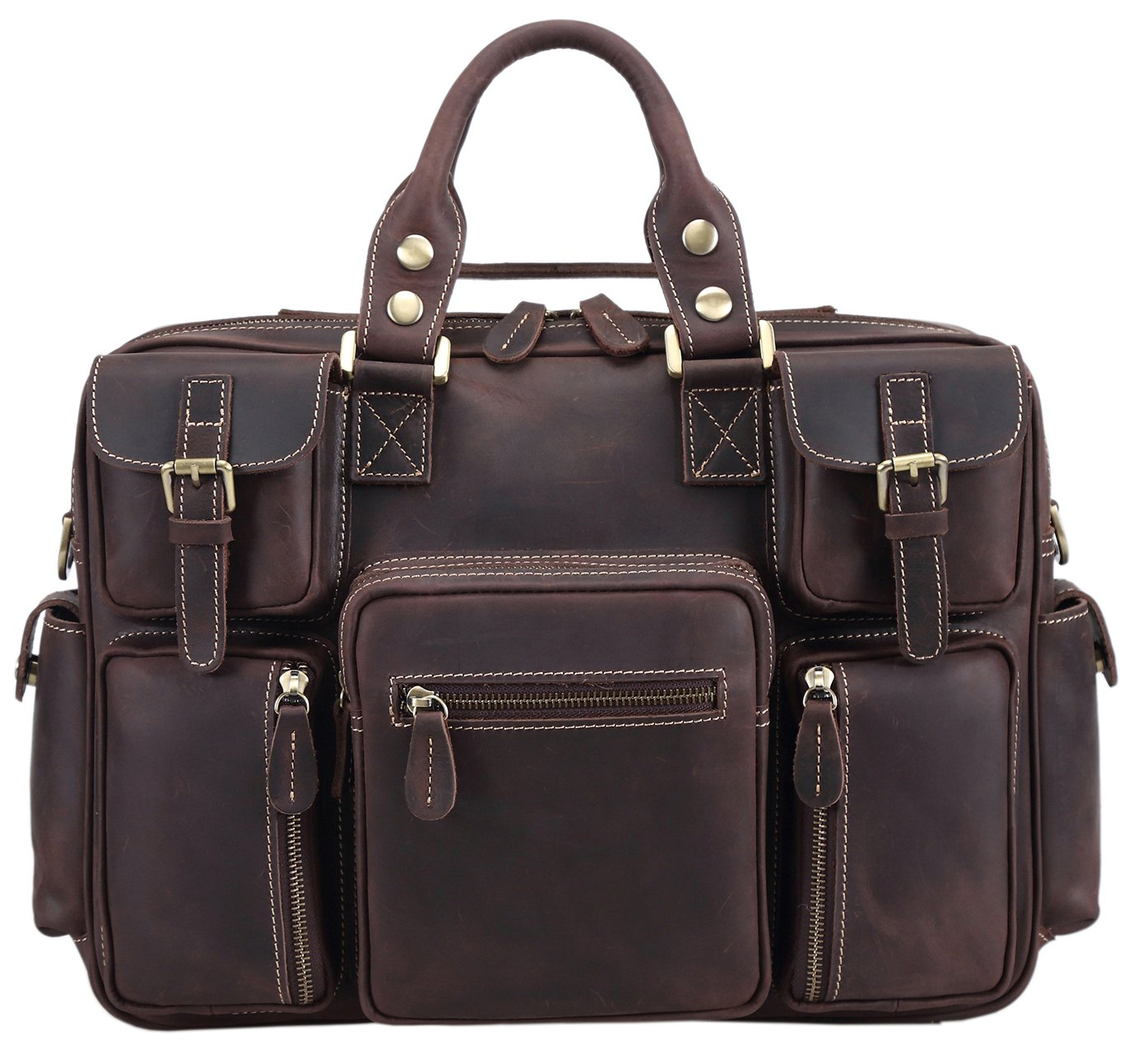 Polare Men's Vintage Full Grain Leather Messenger Bag Business Case Computer Briefcase by Polare