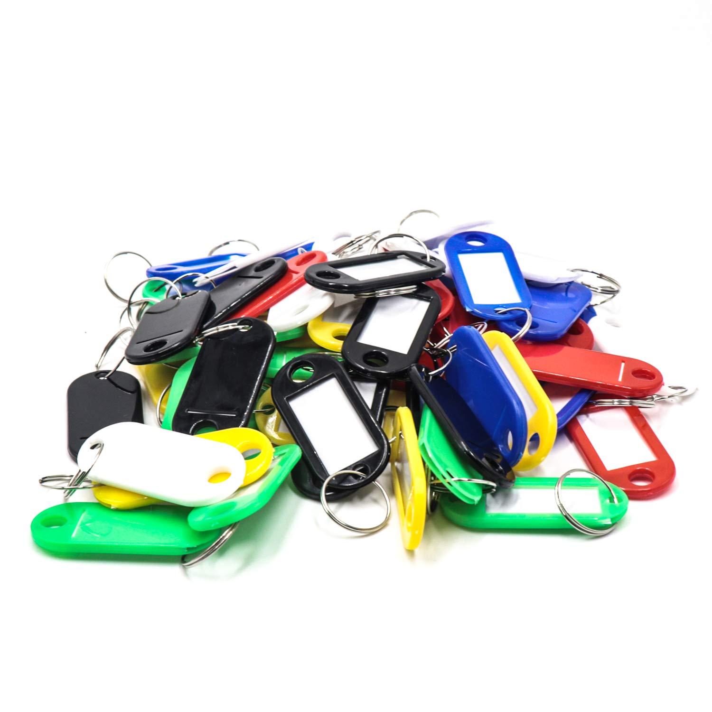 60pcs Porte Cle /Étiquettes /à bagages en plastique de voyage avec porte-cl/és etiquette didentification Porte-Cl/és 6 couleurs