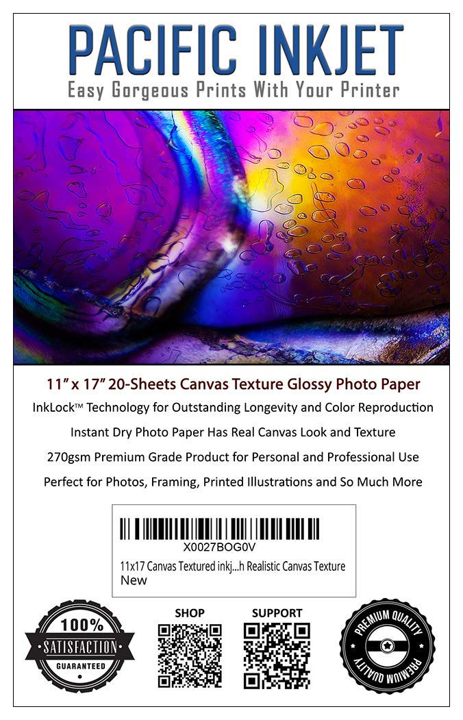 11x17 Canvas Textured inkjet Printer Photo Paper 20 Sheets (11-x-17-inch) Image Printing Paper With Realistic Canvas Texture