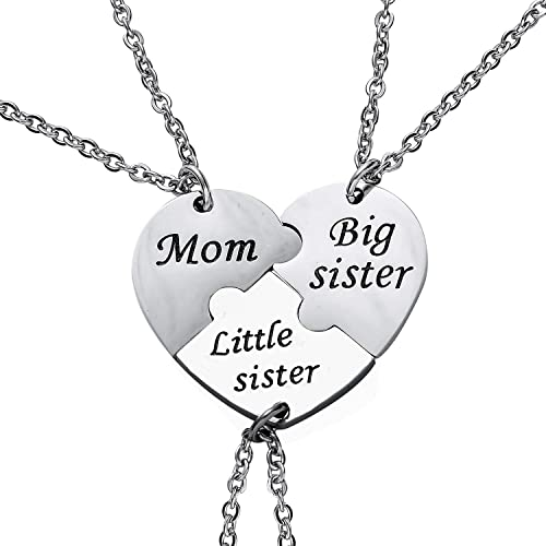 Mother's Day Mother Daughter Two Hearts Necklaces Love Pair Set Charm  Silver