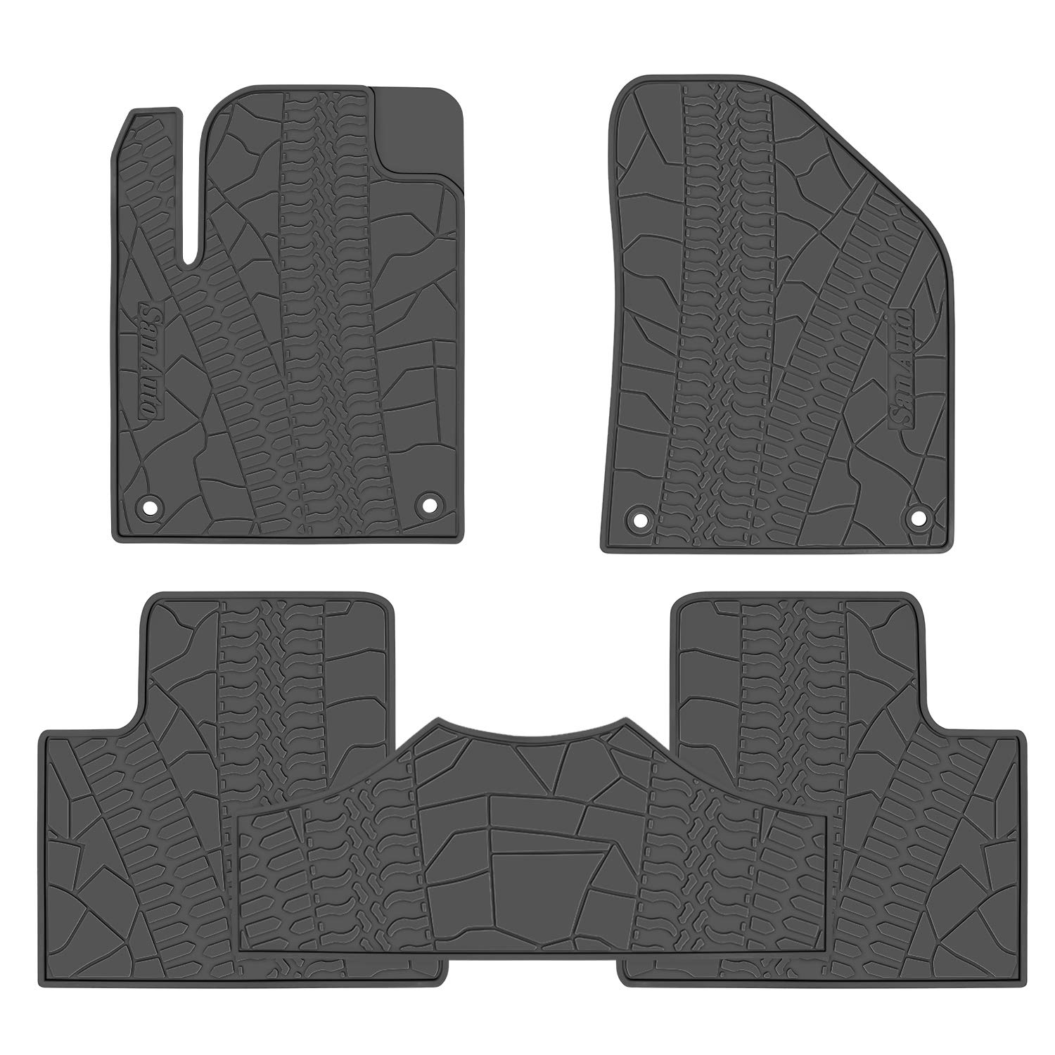 San Auto Car Floor Mat for Jeep Cherokee 2014-2015-2016-2017-2018-2019 Custom Fit Black//Green,Rubber Auto Floor Liner Mat All Weather Heavy Duty /& Odorless